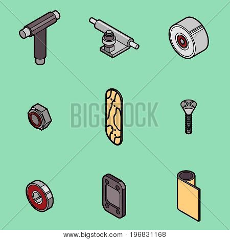 Skateboard spare parts icons Fingerboard and spare parts. Set of fingerboard and fingerboarding of equipment, elements of street style. Collection symbols fingerboard. Vector illustration.