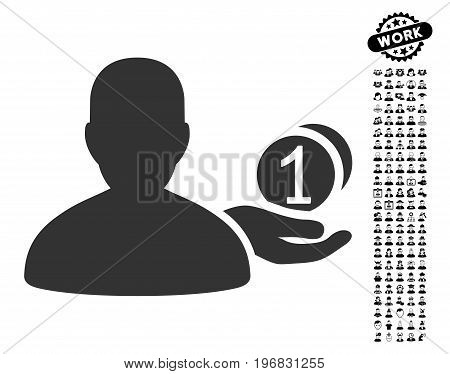 Panhandler icon with black bonus job images. Panhandler vector illustration style is a flat gray iconic symbol for web design app user interfaces.