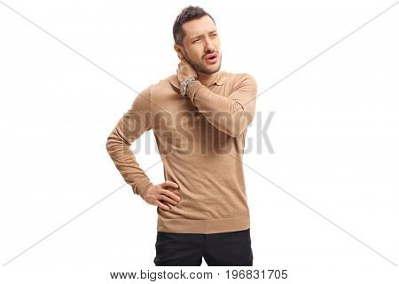Young guy experiencing neck pain isolated on white background