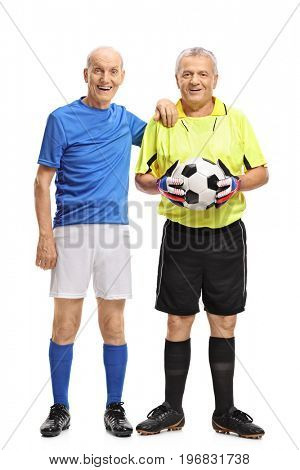Full length portrait of an elderly soccer player and a goalkeeper isolated on white background