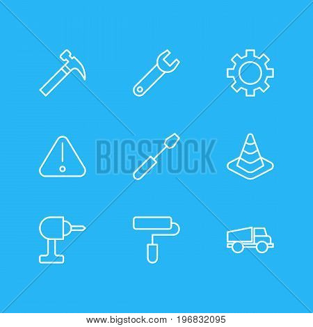 Editable Pack Of Road Sign, Turn Screw, Cogwheel And Other Elements.  Vector Illustration Of 9 Construction Icons.
