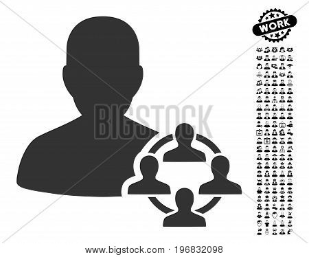Politics icon with black bonus profession images. Politics vector illustration style is a flat gray iconic symbol for web design app user interfaces.