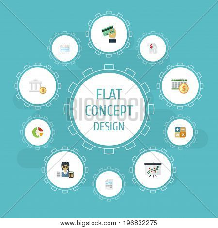 Flat Icons Stock, Bank, Sheet And Other Vector Elements