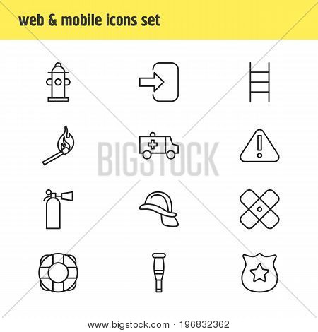 Editable Pack Of Fire, Door, Exclamation And Other Elements.  Vector Illustration Of 12 Necessity Icons.