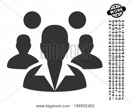 Staff icon with black bonus profession images. Staff vector illustration style is a flat gray iconic symbol for web design app user interfaces.