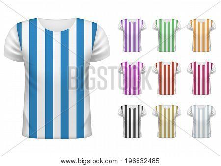 Colored Striped Mens short t-shirt design template set