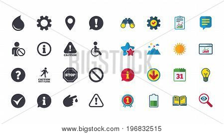 Set of Attention, Information and Caution icons. Question mark, warning and stop signs. Injury, disabled person and tick symbols. Calendar, Report and Browser window signs. Vector