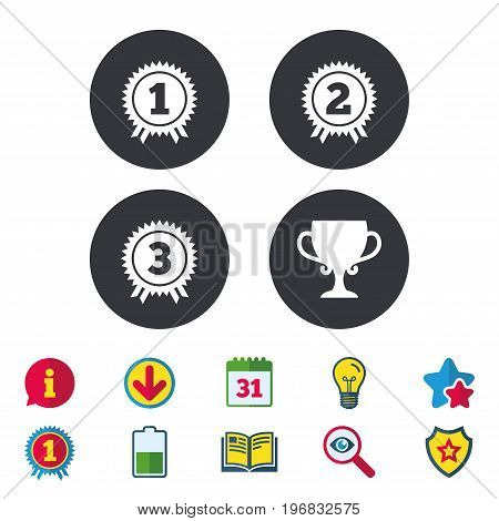 First, second and third place icons. Award medals sign symbols. Prize cup for winner. Calendar, Information and Download signs. Stars, Award and Book icons. Light bulb, Shield and Search. Vector