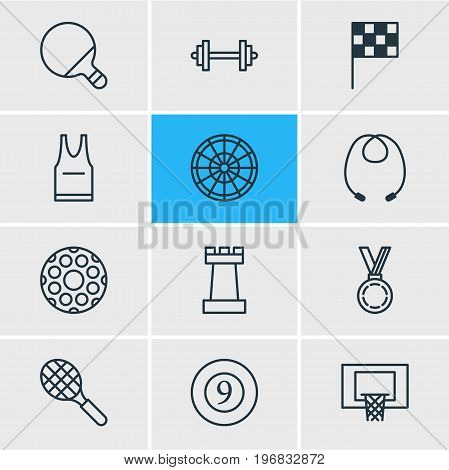 Editable Pack Of T-Shirt, Finish, Pawn And Other Elements.  Vector Illustration Of 12 Sport Icons.