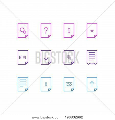 Editable Pack Of Style, Folder, Search And Other Elements.  Vector Illustration Of 12 Paper Icons.