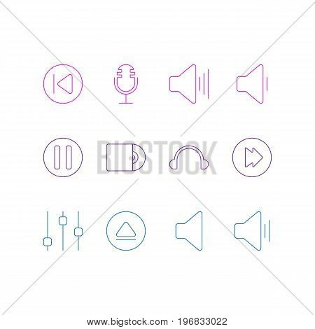Editable Pack Of Compact Disk, Decrease Sound, Advanced And Other Elements.  Vector Illustration Of 12 Music Icons.