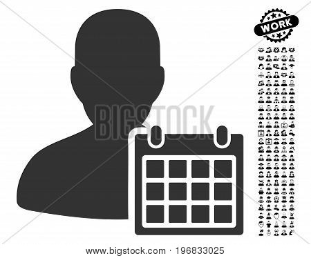 User Schedule icon with black bonus job pictures. User Schedule vector illustration style is a flat gray iconic element for web design app user interfaces.