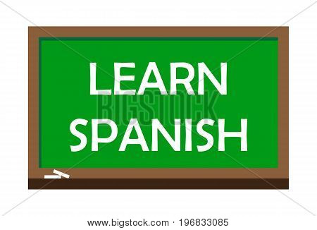 Learn Spanish write on green board, isolated backgraund