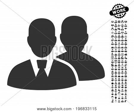 Users icon with black bonus men pictograph collection. Users vector illustration style is a flat gray iconic symbol for web design app user interfaces.