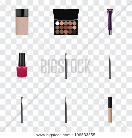 Realistic Day Creme, Eye Paintbrush, Contour Style Kit And Other Vector Elements