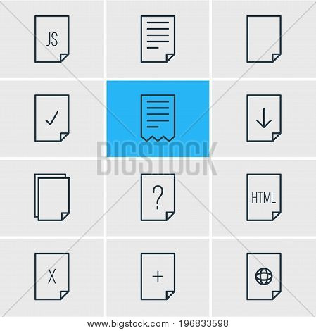 Editable Pack Of Folder, Upload, Internet And Other Elements.  Vector Illustration Of 12 File Icons.