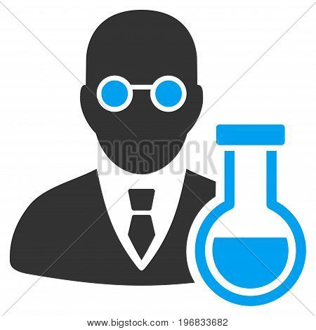 Chemist vector pictograph. Style is flat graphic bicolor symbol blue and gray colors white background.