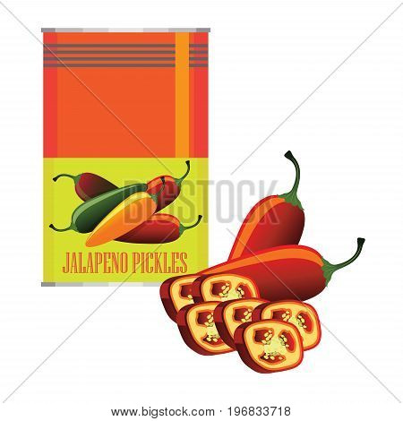 jalapenos pickle in a can as canned food. vector illustration