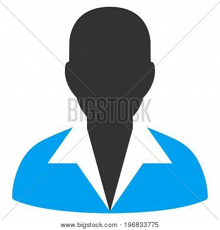 Clerk vector pictograph. Style is flat graphic bicolor symbol blue and gray colors white background.
