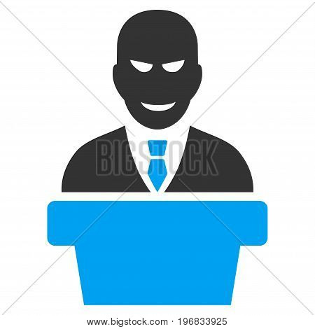 Demagogue vector pictogram. Style is flat graphic bicolor symbol blue and gray colors white background.