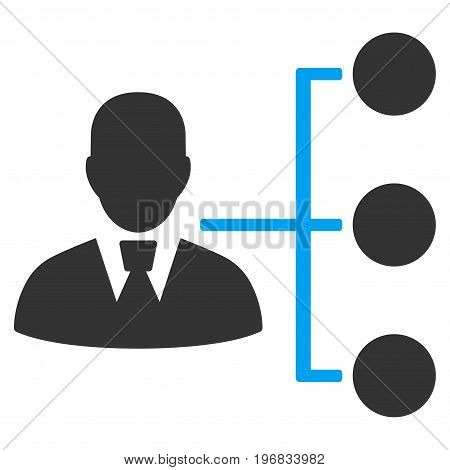 Distribution Manager vector pictogram. Style is flat graphic bicolor symbol blue and gray colors white background.