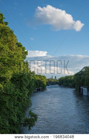 Isar River Munich With Green Riverbank