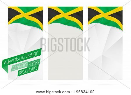 Design of banners flyers brochures with flag of Jamaica. Leaflet Template for website or printing. Vector Illustration.
