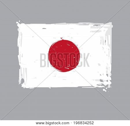 Japanese Flat Flag - Vector Artistic Brush Strokes and Splashes. Grunge Illustration all elements neatly on layers and groups. The JPEG has a clipping path for accurate background removal