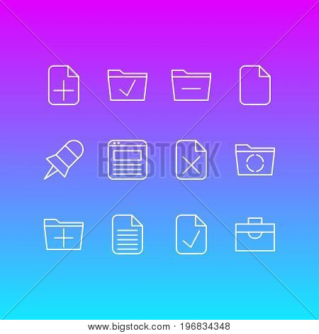 Editable Pack Of Approve, Note, Portfolio And Other Elements.  Vector Illustration Of 12 Workplace Icons.