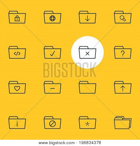 Editable Pack Of Document Case, Information, Remove And Other Elements.  Vector Illustration Of 16 Document Icons.