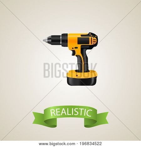 Realistic Drill Element. Vector Illustration Of Realistic Electric Screwdriver Isolated On Clean Background
