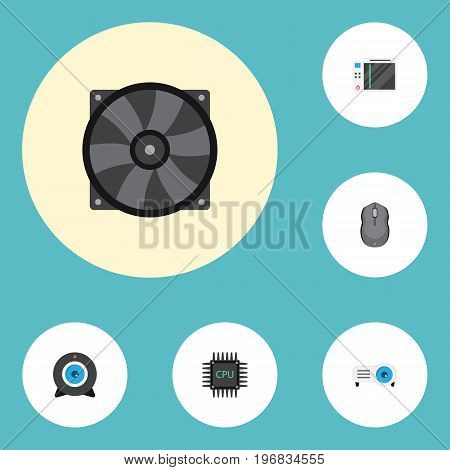 Flat Icons Web Cam, Presentation, Cooler And Other Vector Elements