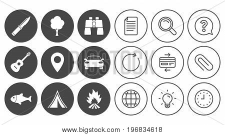Camping, tourism icons. Fishing, campfire and tent signs. Guitar music, knife and binoculars instruments. Document, Globe and Clock line signs. Lamp, Magnifier and Paper clip icons. Vector