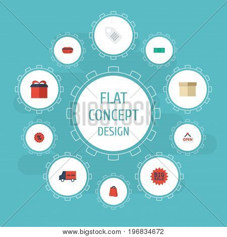 Flat Icons Present, Payment, Percentage And Other Vector Elements
