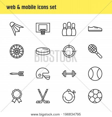 Editable Pack Of Tennis, Helmet, Basketball And Other Elements.  Vector Illustration Of 16 Fitness Icons.