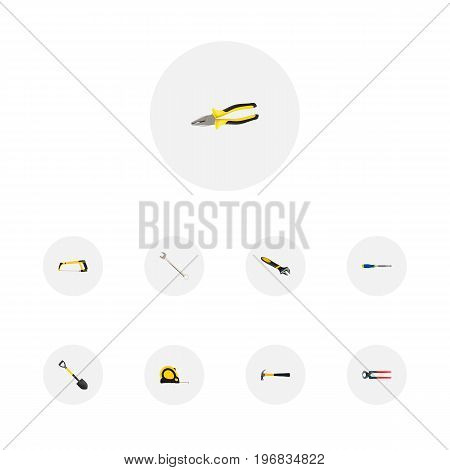 Realistic Arm-Saw, Claw, Tongs And Other Vector Elements