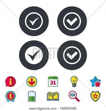 Check icons. Checkbox confirm circle sign symbols. Calendar, Information and Download signs. Stars, Award and Book icons. Light bulb, Shield and Search. Vector