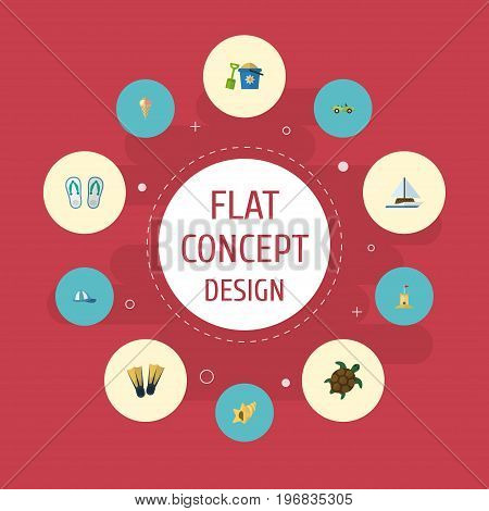 Flat Icons Sorbet, Tortoise, Slippers And Other Vector Elements