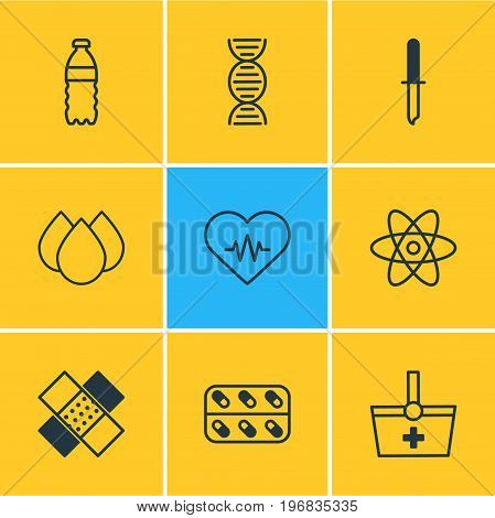 Editable Pack Of Genome, Plastic Bottle, Medicine And Other Elements.  Vector Illustration Of 9 Health Icons.