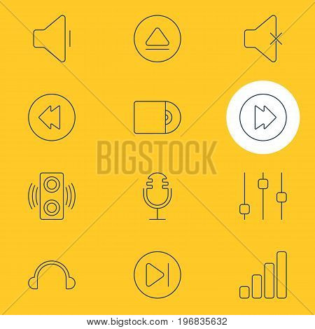 Editable Pack Of Earphone, Advanced, Mike And Other Elements.  Vector Illustration Of 12 Melody Icons.