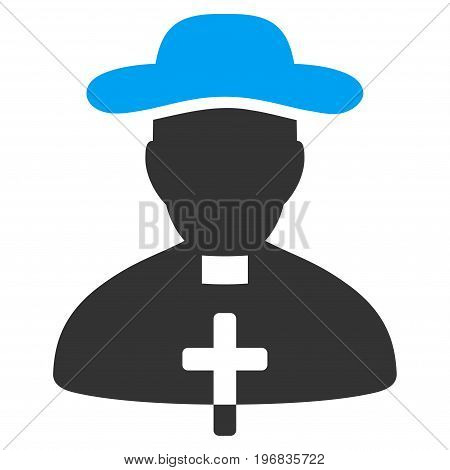 Priest vector pictogram. Style is flat graphic bicolor symbol, blue and gray colors, white background.