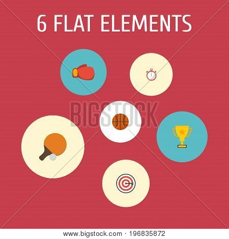 Flat Icons Basket, Arrow, Trophy And Other Vector Elements