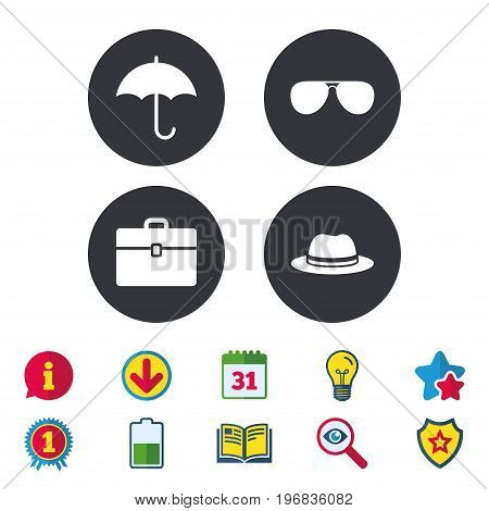 Clothing accessories icons. Umbrella and sunglasses signs. Headdress hat with business case symbols. Calendar, Information and Download signs. Stars, Award and Book icons. Vector