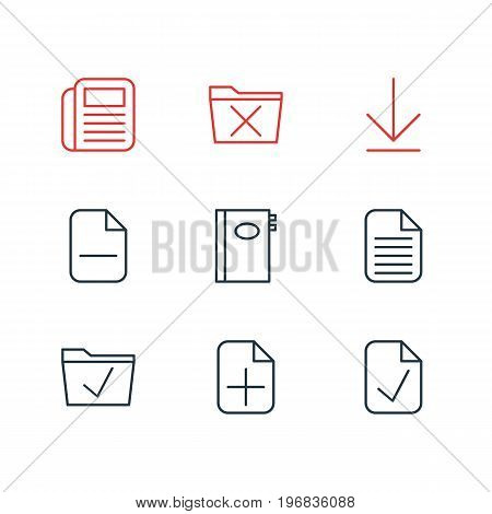 Editable Pack Of Blank, Approve, Journal And Other Elements.  Vector Illustration Of 9 Workplace Icons.