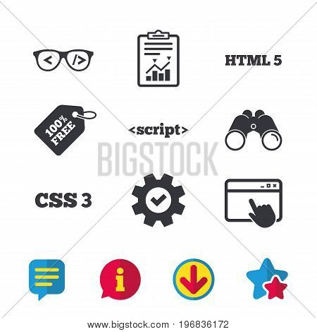 Programmer coder glasses icon. HTML5 markup language and CSS3 cascading style sheets sign symbols. Browser window, Report and Service signs. Binoculars, Information and Download icons. Stars and Chat