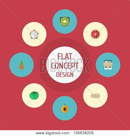 Flat Icons Cauliflower, Garlic, Exotic Dessert And Other Vector Elements
