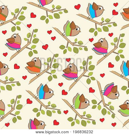 funny seamless pattern with dressed birds vector format