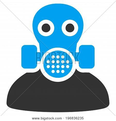 Toxic Work vector pictograph. Style is flat graphic bicolor symbol, blue and gray colors, white background.