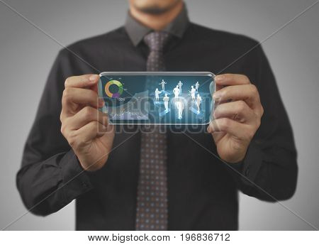 Touch screen mobile phone, open business chart in hand