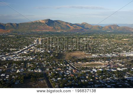 Aerial view on Townsville city with mountain in distance - North Queensland Australia